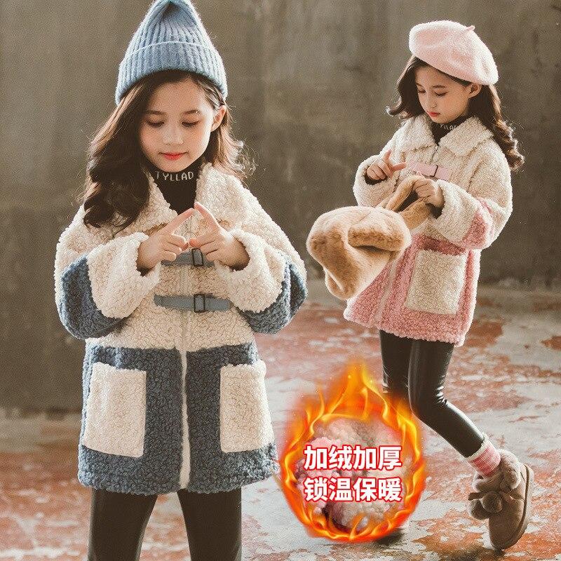 الفتيات الملابس 10 12 سنة الفتيات معطف الشتاء الاطفال الفاكس معطف صوف الضأن لفتاة ملابس الشتاء فتاة كبيرة الصوف معطف الاطفال جاكيتات هدية