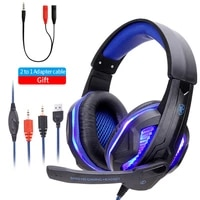 cool led wired headphones with microphone headset gamer pc headphone headband stereo game earphone for ps4xboxphone