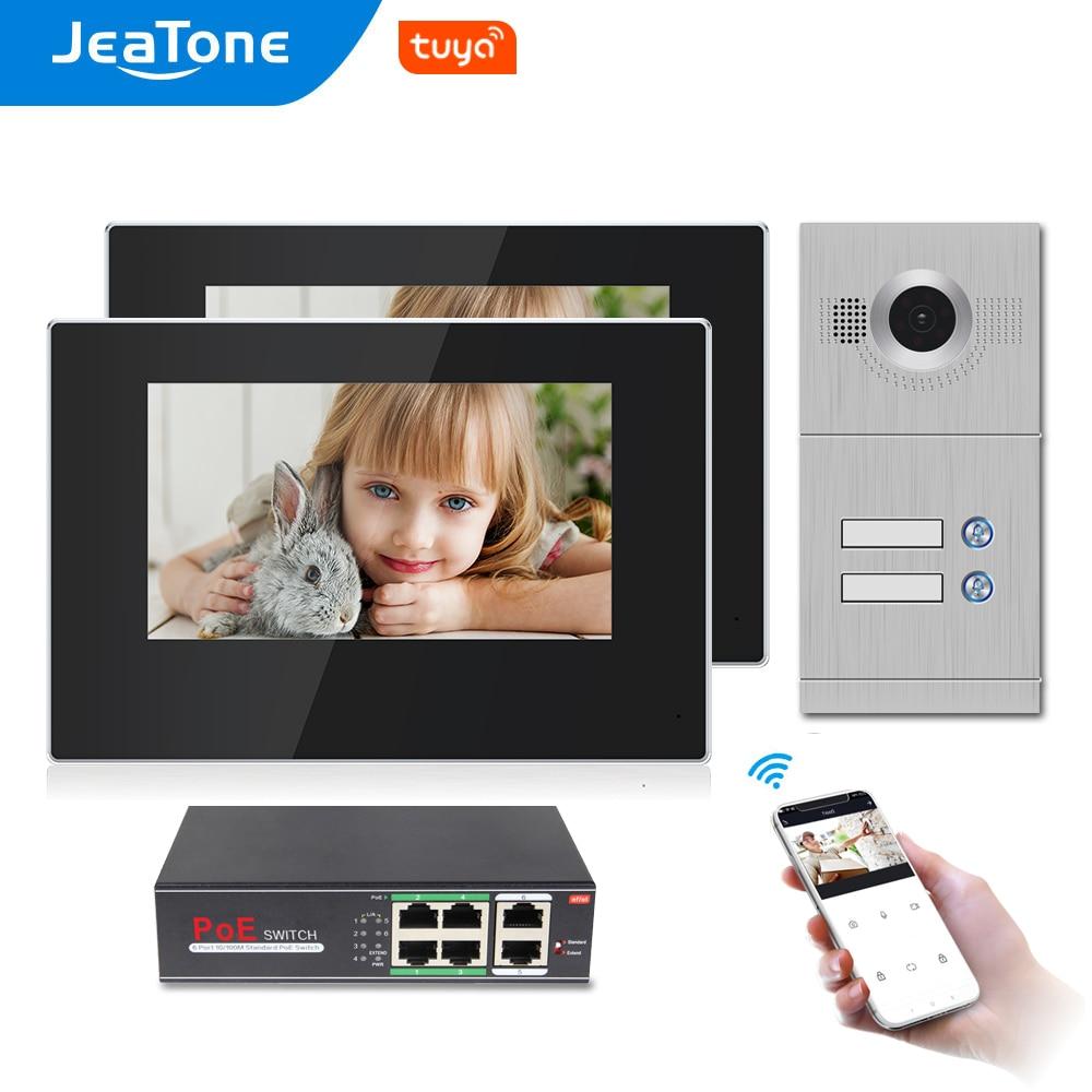 Jeatone 7 بوصة واي فاي فيديو إنترفون ل 2 شقق باب نظام التحكم في الوصول تويا الذكية APP عن بعد فتح والاتصال ومراقبة