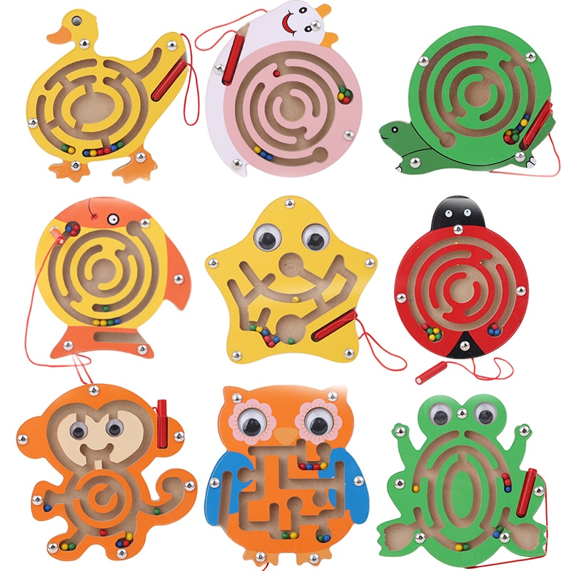 Children Magnetic Maze Toy Kids Wooden Puzzle Game Toy Kids Early Educational Brain Teaser Wooden To
