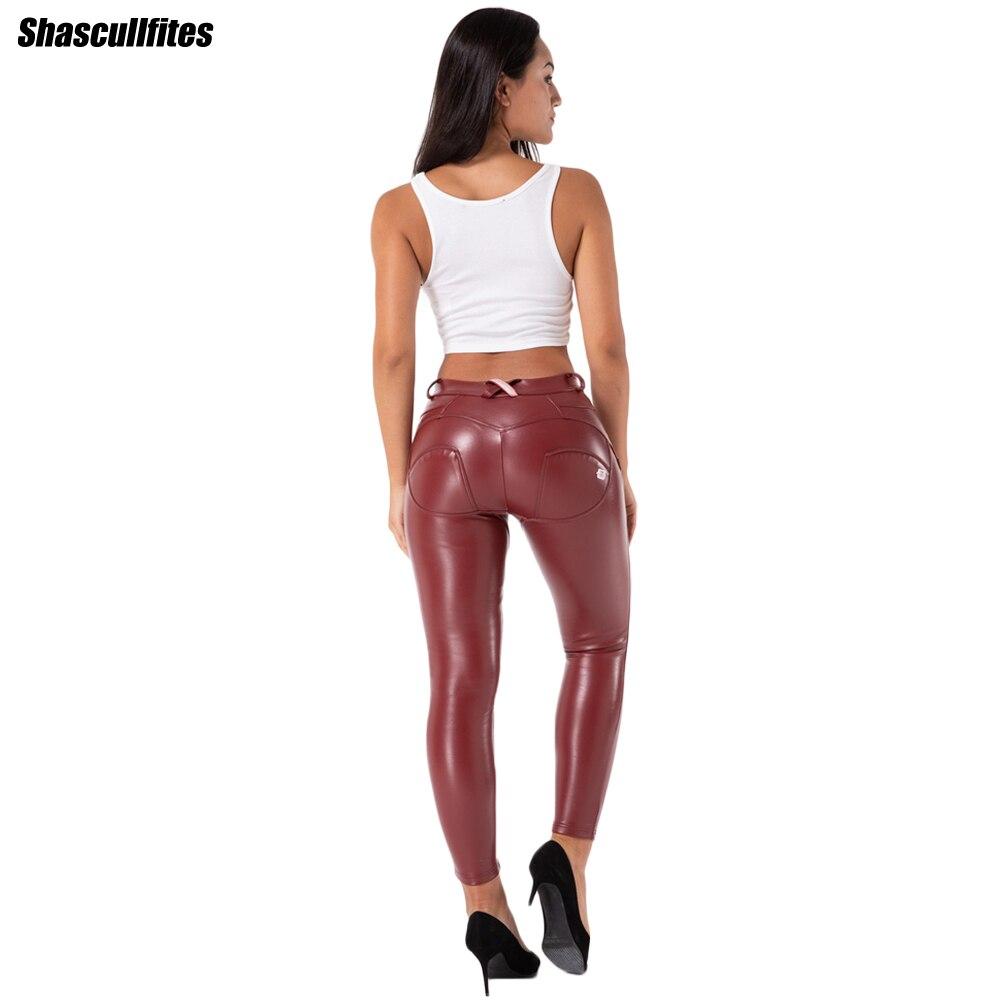 Женские леггинсы Shascullfites Melody из искусственной кожи, бордовые офисные повседневные брюки, элегантные эластичные облегающие брюки-карандаш, ...