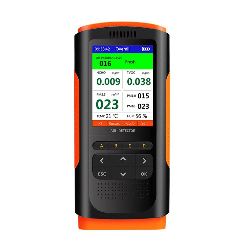 Monitor de Qualidade do ar Display Recarregável Umidade Temperatura Hcho Tvoc Analisador Início Office Indoor Pm2.5 Monitoramento Dados Lcd