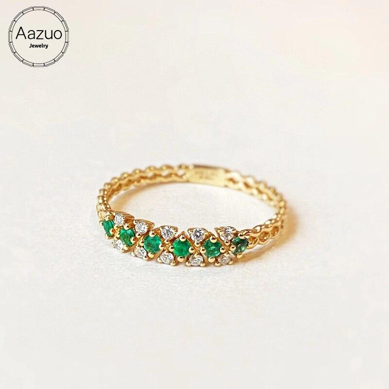 Aazuo-خاتم من الذهب الأصفر عيار 18 قيراطًا مرصع بالألماس والزمرد الأخضر الطبيعي ، للنساء ، لعيد الحب Au750