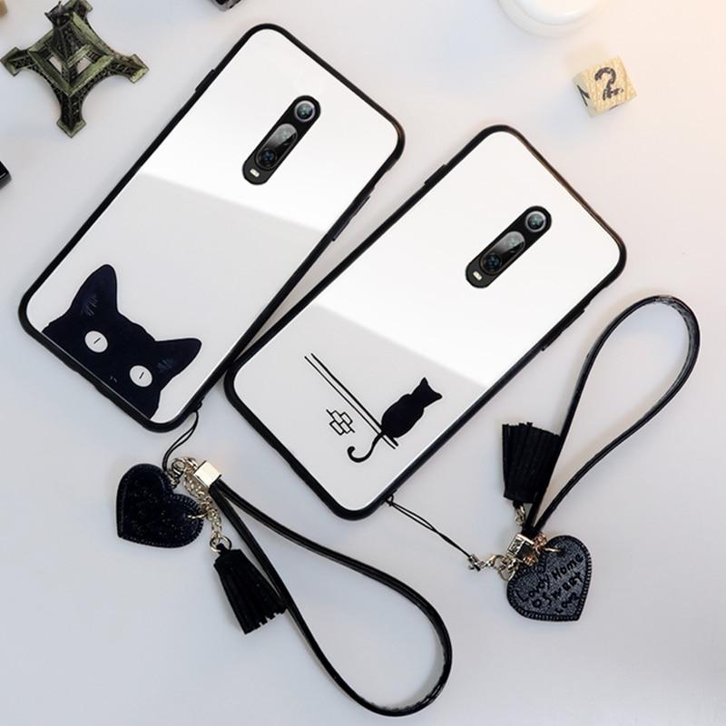 Funda y correa para Oneplus 7 Pro 6 funda trasera de vidrio para teléfono duro para Oneplus 7 one plus 6 cordón de gato lindo simple