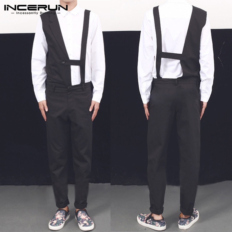INCERUN-بذلة كاجوال سوداء للرجال ، أزياء بدون أكمام ، بنطلون طويل ، وزرة ، غير منتظمة ، تسمح بمرور الهواء ، لياقة بدنية ، أنيقة ، Joggers7
