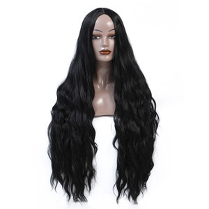 Long Wave Synthetic Hair Wig Natural Two Color Wigs Long Cosplay Wig Heat Resistant Fiber For Black White Women