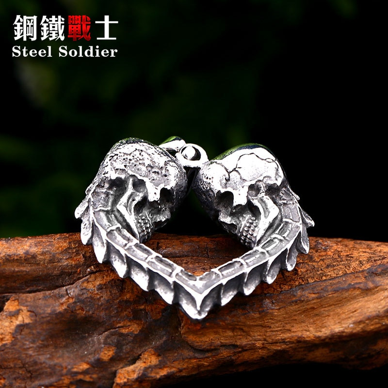 Steel soldier double skull heart design punk biker pendant stainless steel necklace chain trendy jewelry