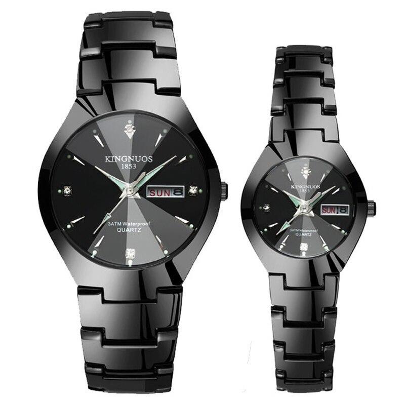 Par de relojes par hombres y mujeres reloj de pulsera de cuarzo acero impermeable puntero luminoso día/fecha calendario Dual moda hora emparejada