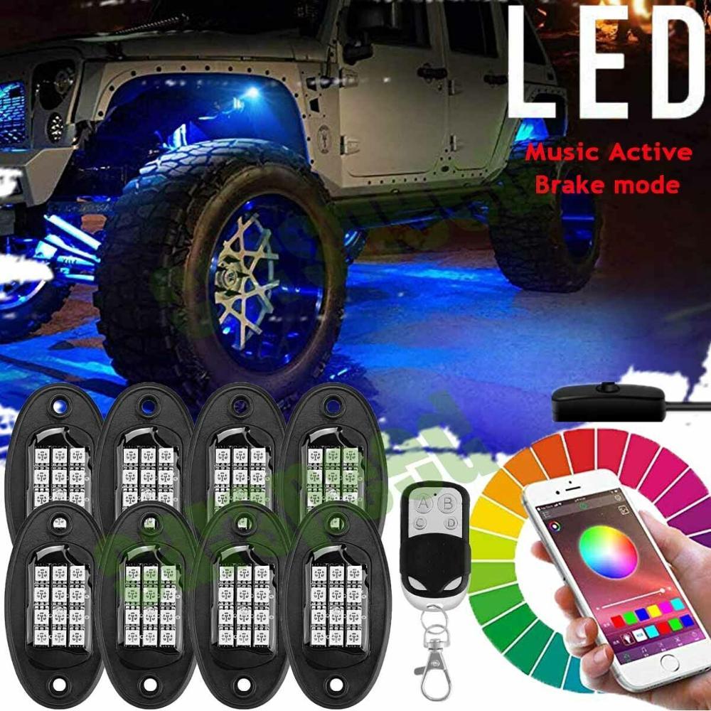 Juego de 8 luces LED RGB para Roca, Control Bluetooth, Kit de luces LED de neón Multicolor para Jeep, camión, coche, ATV, SUV, vehículo, barco
