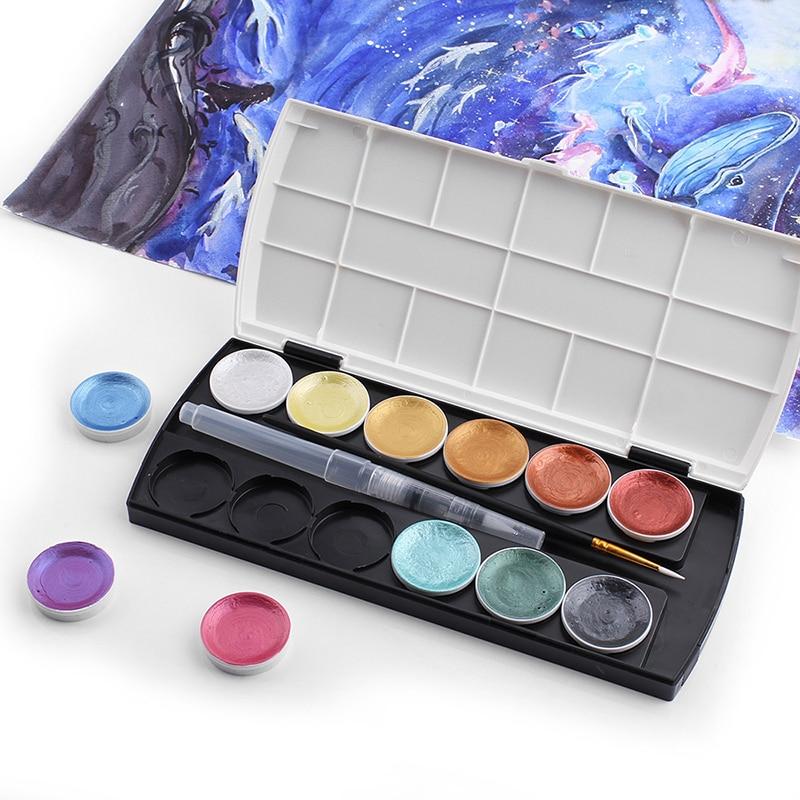 Art 12 цветов, цвет металлик, цвет Φ, набор краски, Золотая краска, цвет воды s с кистью для рисования, цвет воды, пигмент