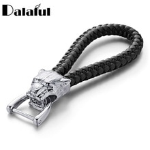 Dalaful Neue High Grade Männer Schlüssel Kette Leopard Woven Leder Seil Schlüsselanhänger Geschenk Für Auto Frauen Abnehmbare Schlüssel Ringe Halter k357