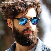 simprect retro polarized sunglasses men 2021 uv400 high quality square hd mirror sun glasses vintage lunette de soleil homme