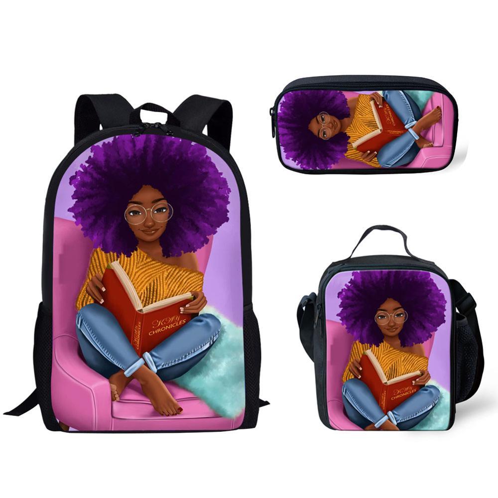 HaoYun Arts African Girls Pattern School Bag Fashion Book Bags for Teenagers Boys Girls Backpack Children Daily Mochila Custom