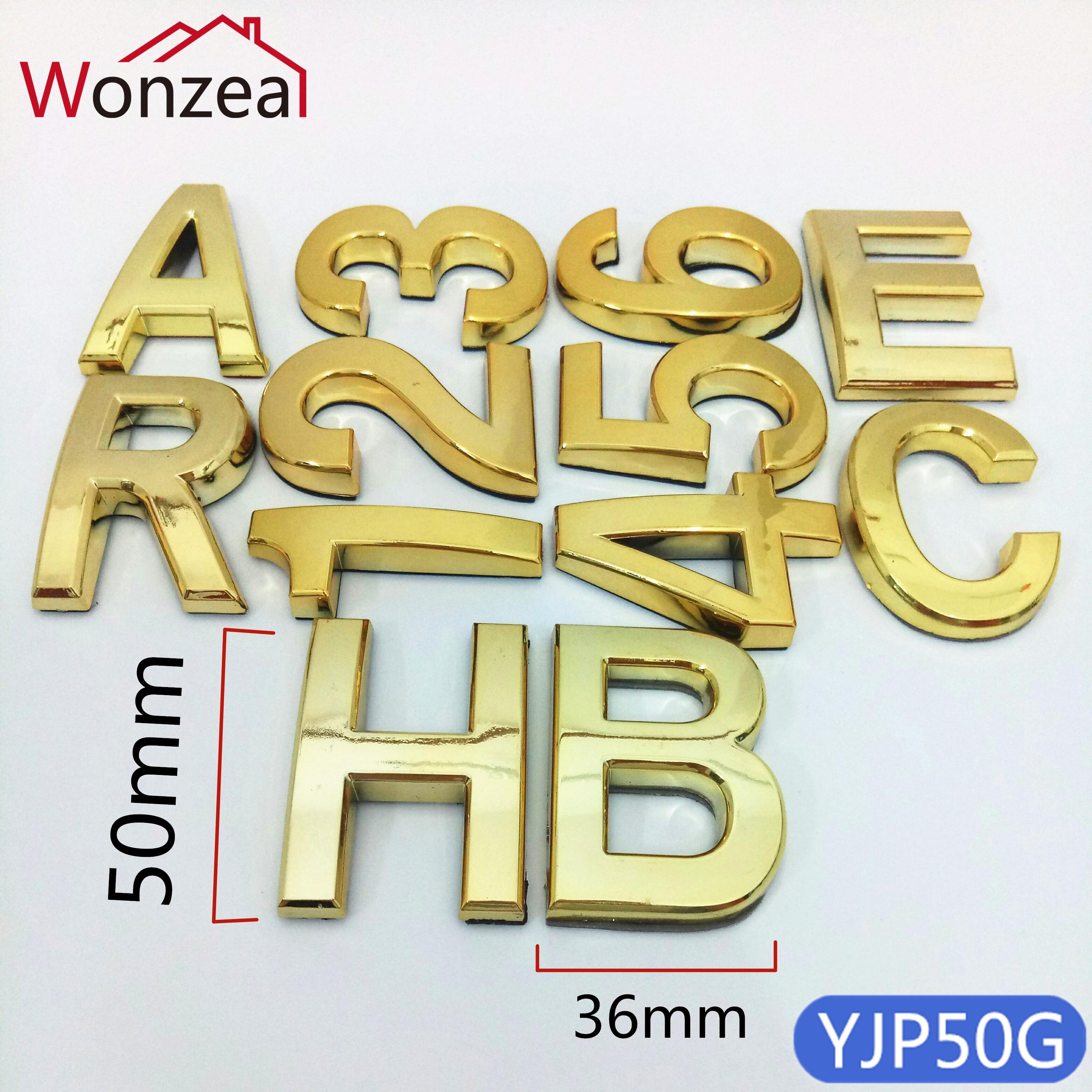 Placa de plástico abs 50mm, porta dourada endereço moderno placa número casa hotel digits sinal adesivo
