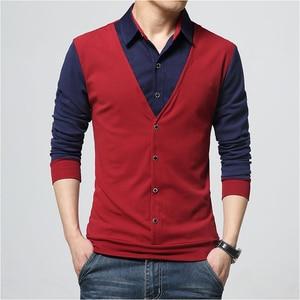 Brand Autumn Mens Fashion Fake Two Designer Clothing Cool T-shirt Men Long Sleeve T Shirt Casual Male Turn-down Collar Cotton