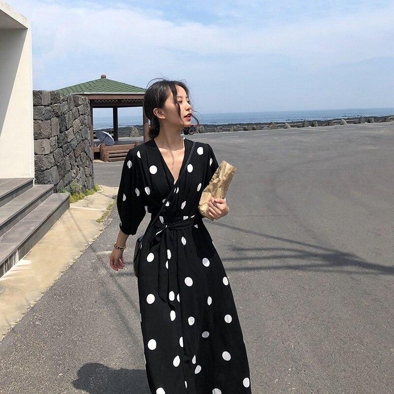 2021 Boho New Summer Maxi Dress Clothes Vintage Slim French Retro Hepburn Wind Black Polka Dot Long