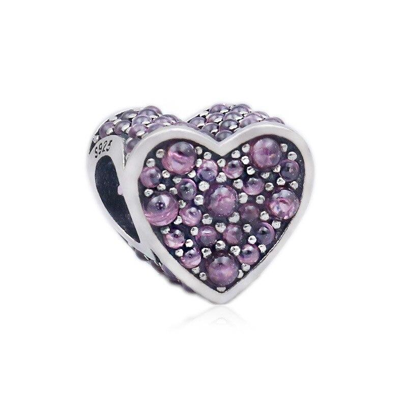Charm de corazón Rosa deslumbrante de Plata de Ley 925 auténtica, apto...