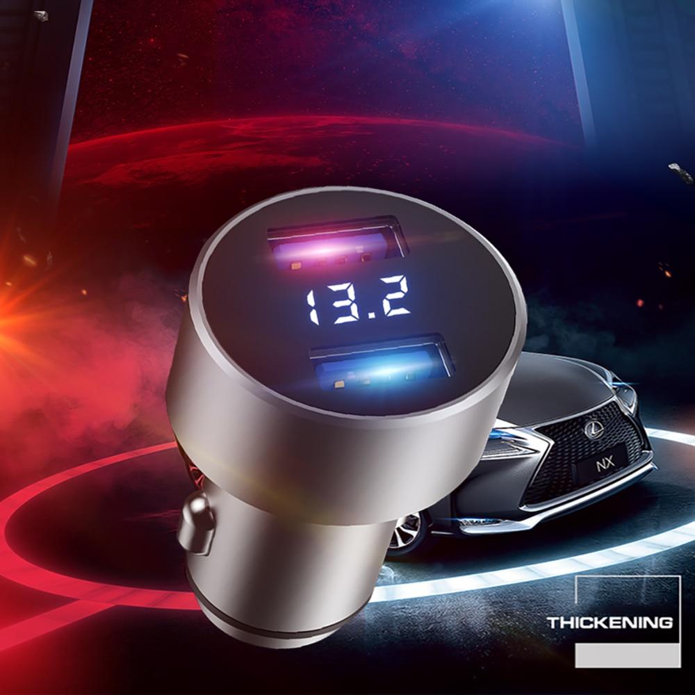 Зарядное устройство USB voiture автомобильное зарядное устройство с двумя портами USB для быстрой зарядки QC телефон зарядное устройство адаптер ...