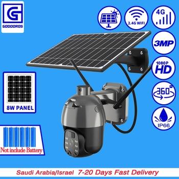 GODOOROS 4G LTE FDD GSM Solar Recharge Battery Wireless PTZ Camera 1080PHD 3MP Outdoor CCTV Security Surveillance Wifi IP Camera