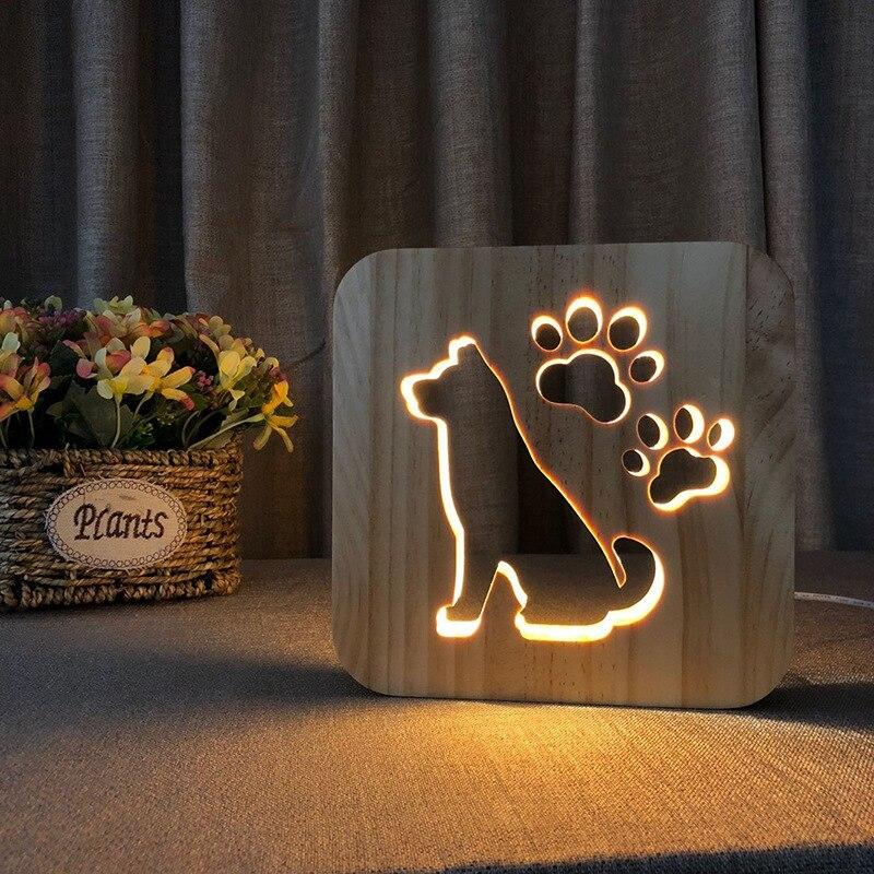 خشبية الإبداعية ليلة ضوء الكلب مخلب القط الحيوان 3D ضوء LED الجدة الزخرفية الجدول مصباح USB عطلة الأطفال عيد الميلاد هدية