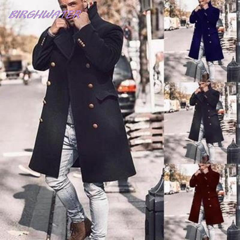 معطف رجالي من الصوف موضة خريف 2020, معطف رجالي صوفي بأكمام طويلة مقاس كبير مناسب للشتاء