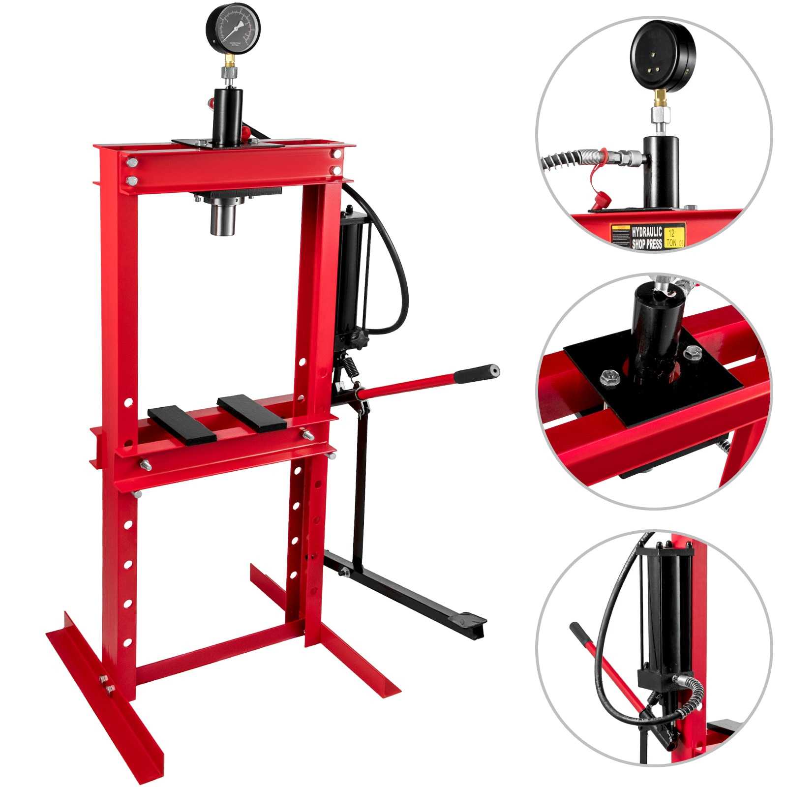 12 Tons Workshop Press Machine Hydraulic Press Tool With Pressure Gauge And Foot Pump Suitable For Garages Or Specialty Shops