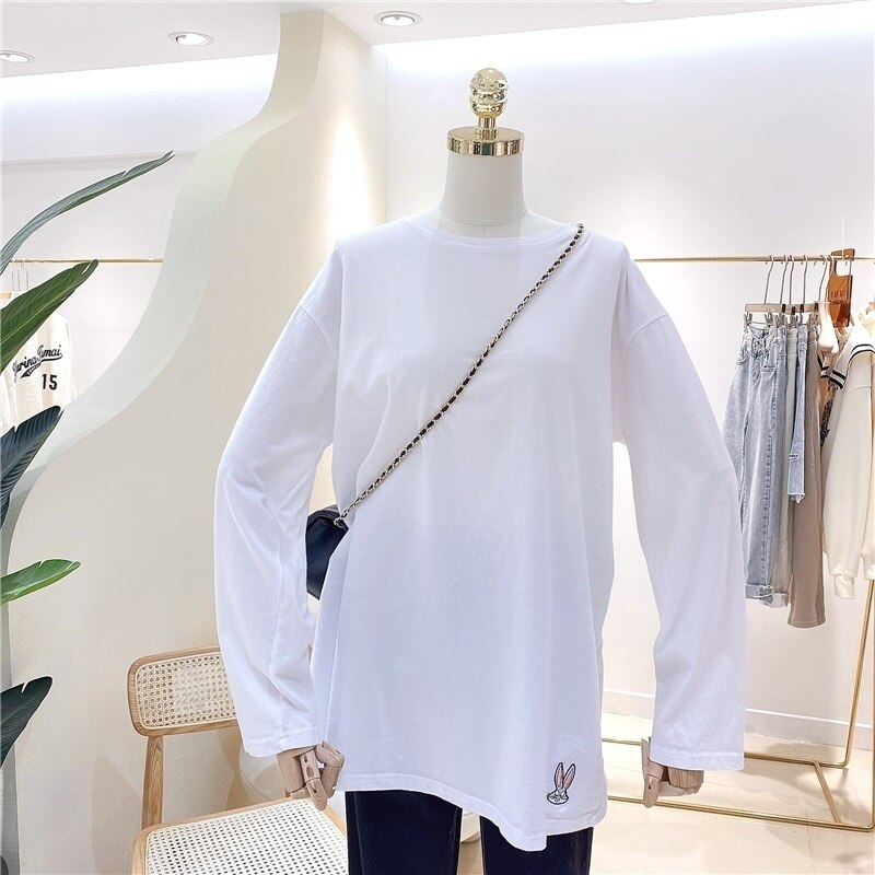 Sleeve T-Shirt Cotton T-shirt Long Sleeve Shirt Women Tshirt 2021 Autumn Camisas Mujer Tee Shirt Wom