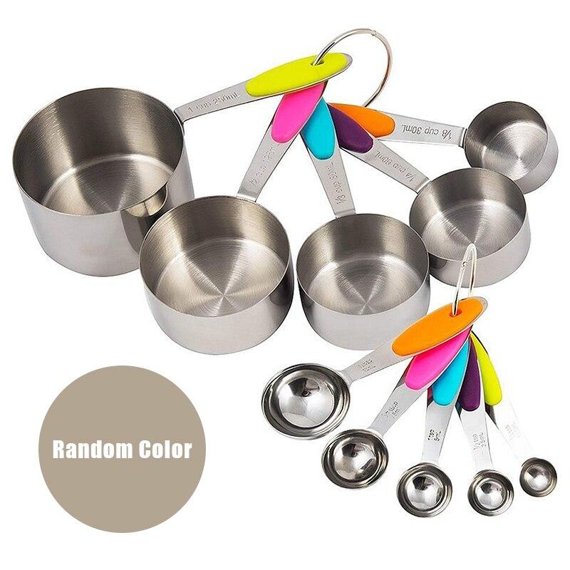 10 unids/set de acero inoxidable tazas cucharas para medida de cocinar hornear hacer té y café utensilios medidores de cocina J99Sto