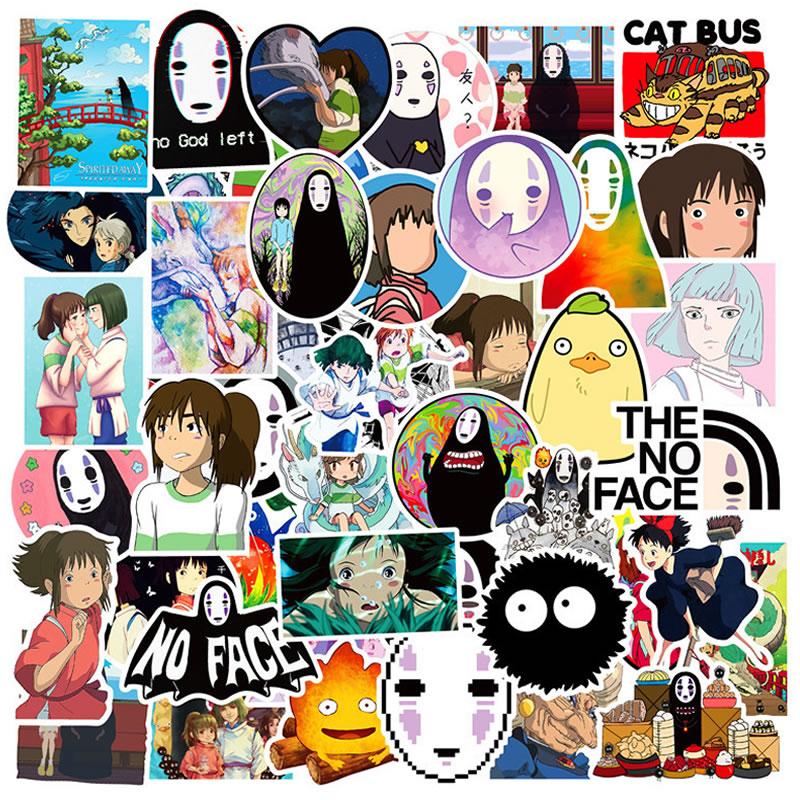 50 Pieces Waterproof PVC Anime Spirited Away Girl Stickers Guitar Skateboard Suitcase Children Graffiti Sticker Kid Classic Toy