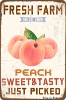 lznang metal tin signfresh farm peach sweet tasty just pickedsuitable for kitchens bars and clubs bathrooms retro