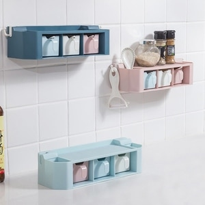 Kitchen Wall-mounted Spice Box Set Household Combination Free Punching Salt And MSG Storage Bottle Wall-mounted Seasoning Glass