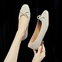 new korean version leather grandma shoes low heel shallow mouth butterfly knot women shoes