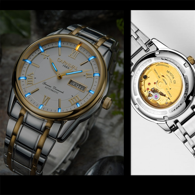 ساعات ماركة-Carnival الرجالية ، ساعة ميكانيكية مضيئة من التريتيوم ، T25 ، ماركة فاخرة ، فولاذ كامل ، relogio