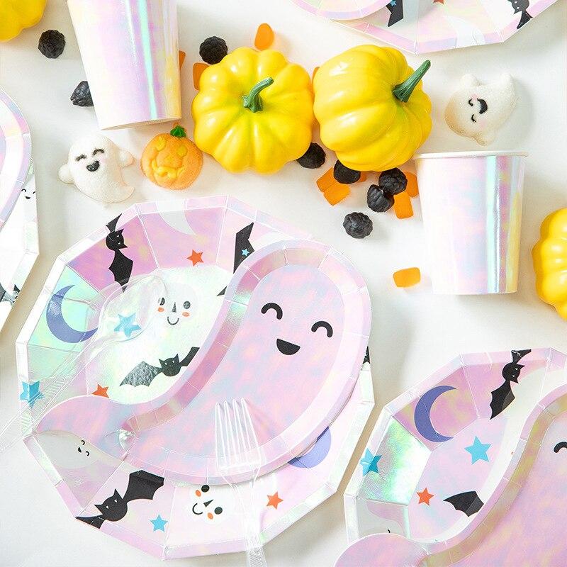 Halloween Fiesta Temática fantasma lindo cráneo desechables platos de vajilla de papel tazas tema infantil suministros de decoración para fiesta de cumpleaños