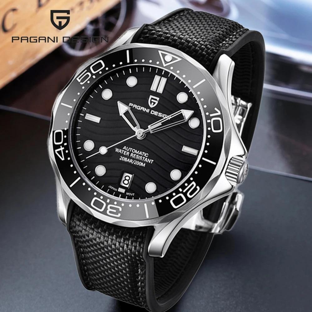 PAGANI تصميم ساعات آلية رجالية العلامة التجارية الفاخرة ساعة أوتوماتيكية للرجال NH35 الغوص 200 متر ساعة الذكور رجل Reloj Hombre 2021