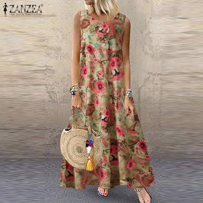 Zanzea feminino boêmio floral impresso maxi vestido longo 2021 verão vintage sem mangas vestido casual solto plus size