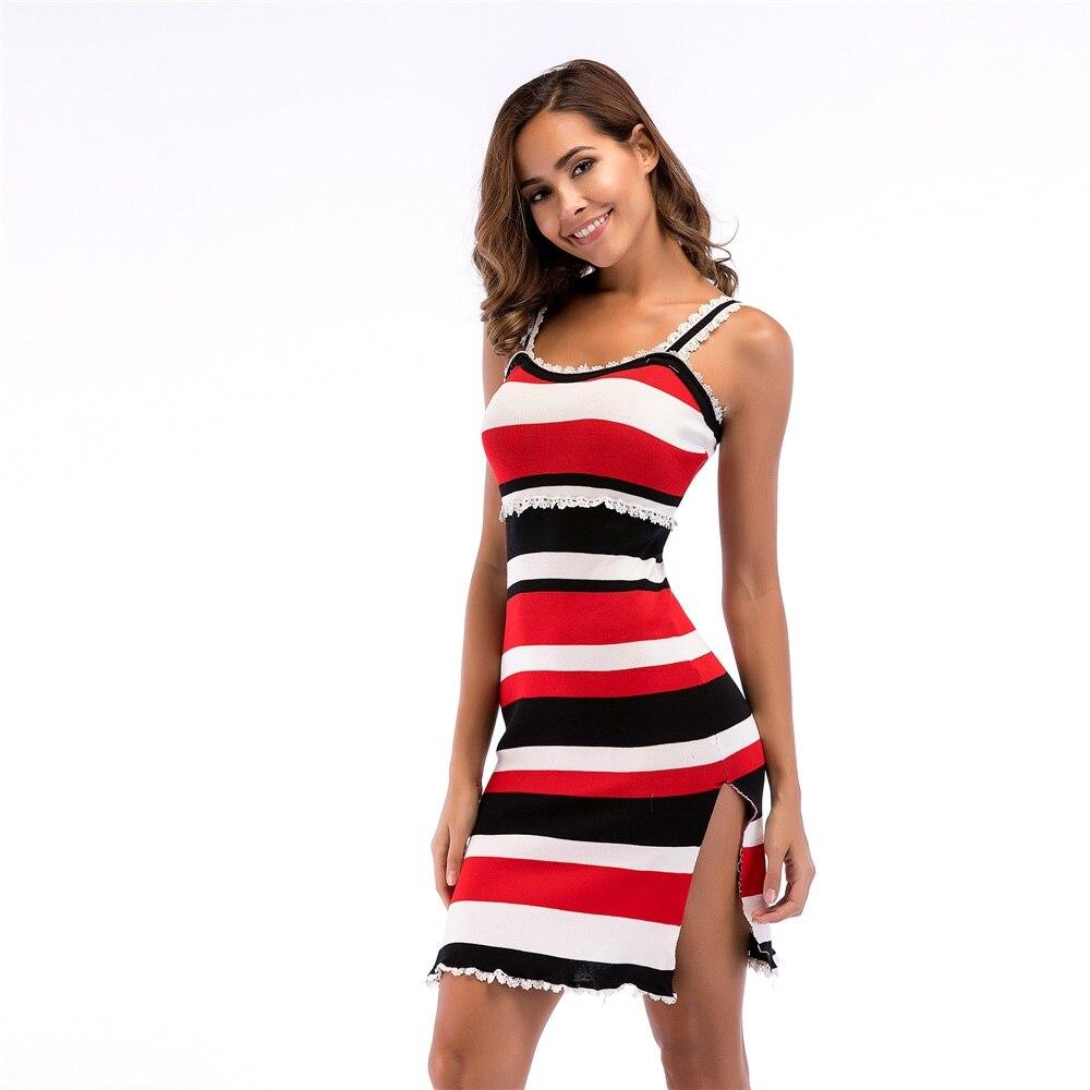 Vestido de punto para mujer, sin mangas, a rayas, con tirantes finos, estilo Sexy, con bordes con retales, prenda de punto