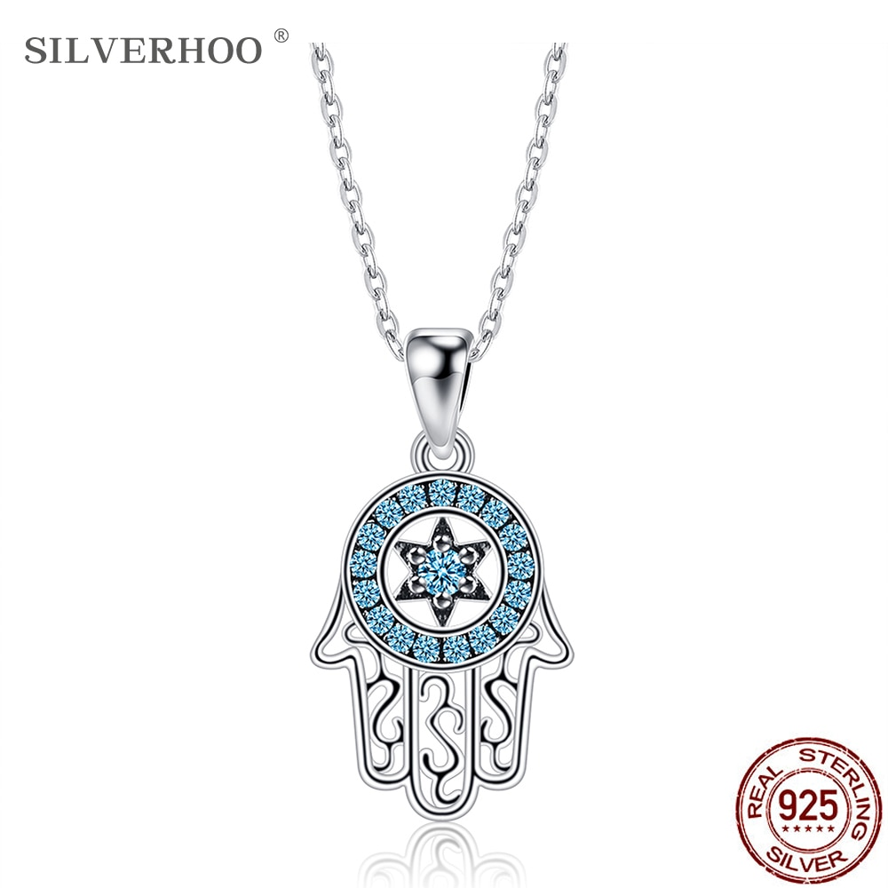 SILVERHOO 925 Sterling Silver Necklace For Women Demon Hand Pendant Necklace Blue Round Cubic Zirconia Fine Jewelry Mystery Gift bff infinity necklace 925 sterling silver aaa cubic zirconia cyrstal necklace always best friend sister forever gift p6093b