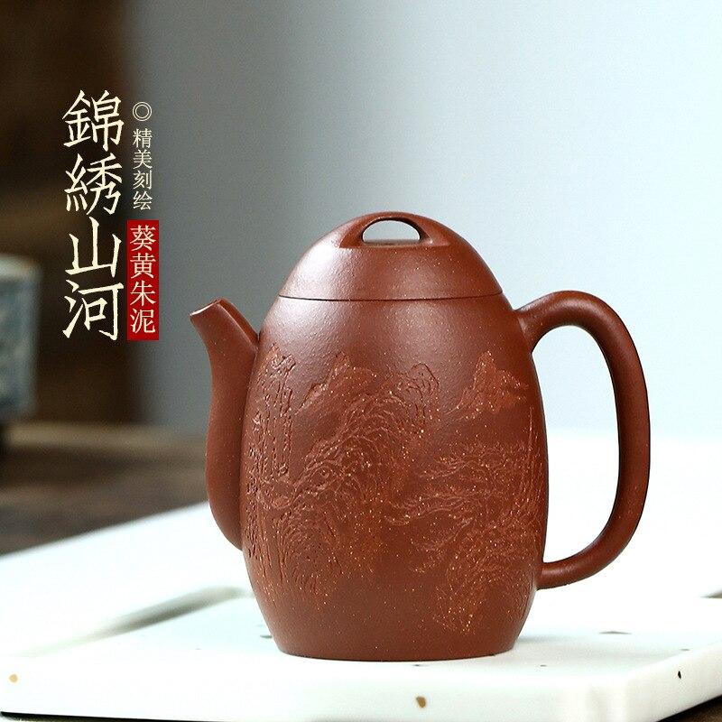 Yixing-إبريق شاي من الطين الأرجواني jinxiushanhe ، مصنوع يدويًا من مادة خام خام ، طقم شاي kungfu ، نحت رائع