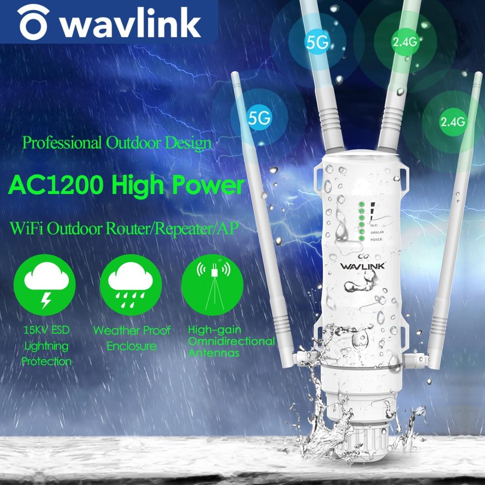 Wavlink Высокая мощность AC1200 открытый беспроводной Wi-Fi ретранслятор AP/WiFi роутер 1200 Мбит/с Dual Dand 2,4G + 5 ГГц расширитель диапазона POE