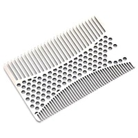 1pcs stainless steel comb honeycomb credit card size easy to carry anti static comb teeth smooth does not hurt the scalp