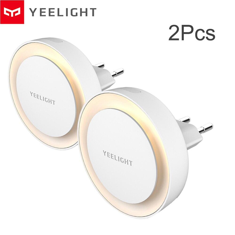 Luces nocturnas originales Yeelight YLYD10YL con Sensor de luz, Ultra bajo consumo de energía, 220V, enchufe europeo, lámpara de amistad para niños 2 uds.