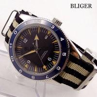 Sapphire Glass 41mm Nologo Dial Men's Watch Blue Ceramic Bezel Luminous Marks Automatic Movement Wristwatch