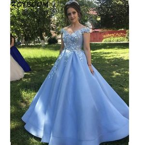 2021 Light Blue Prom Dresses Women Formal Party Elegant A-Line Off Shoulder Vestidos De Gala Appliques Lace Long Evening Gowns