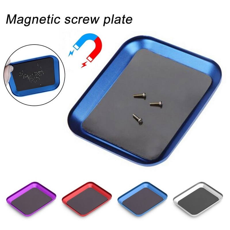 Adjustable Aluminum Alloy Magnetic Screw Storage Box Small Parts Screw Plate Tray For Mobile Phone R