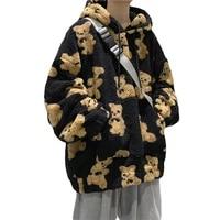 women loose harajuku kawaii hoodies fleece bear couple hoodie autumn winter thick sweatshirts oversized pullover casual clothes