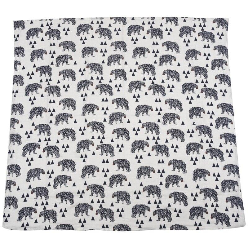 Hlzs-urso preto impressão musselina bebê algodão swaddling saco infantil recém-nascidos cobertor swaddling toalha de cama