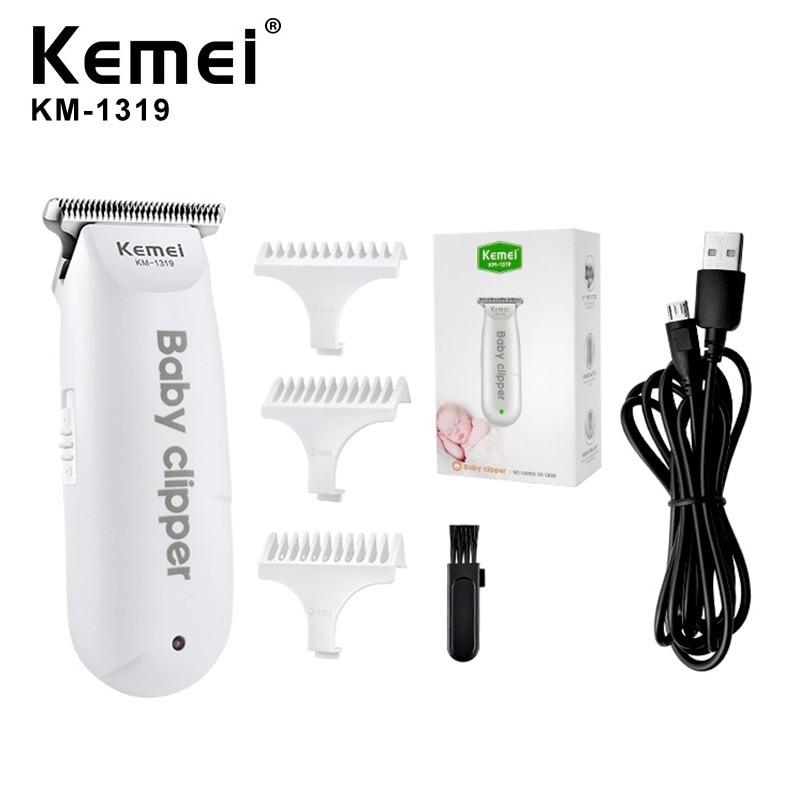 Mini cortadora eléctrica Kemei de pelo de bebé con USB, cortadora portátil de pelo para niños, afeitadora de pelo recargable para niños, afeitadora doméstica silenciosa para bebés