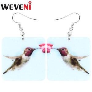 WEVENI Acrylic Square Hummingbird Earrings Flower Aesthcitc Bird Animal Dangle Drop Jewelry For Women Girls Summer Jewelry Gift