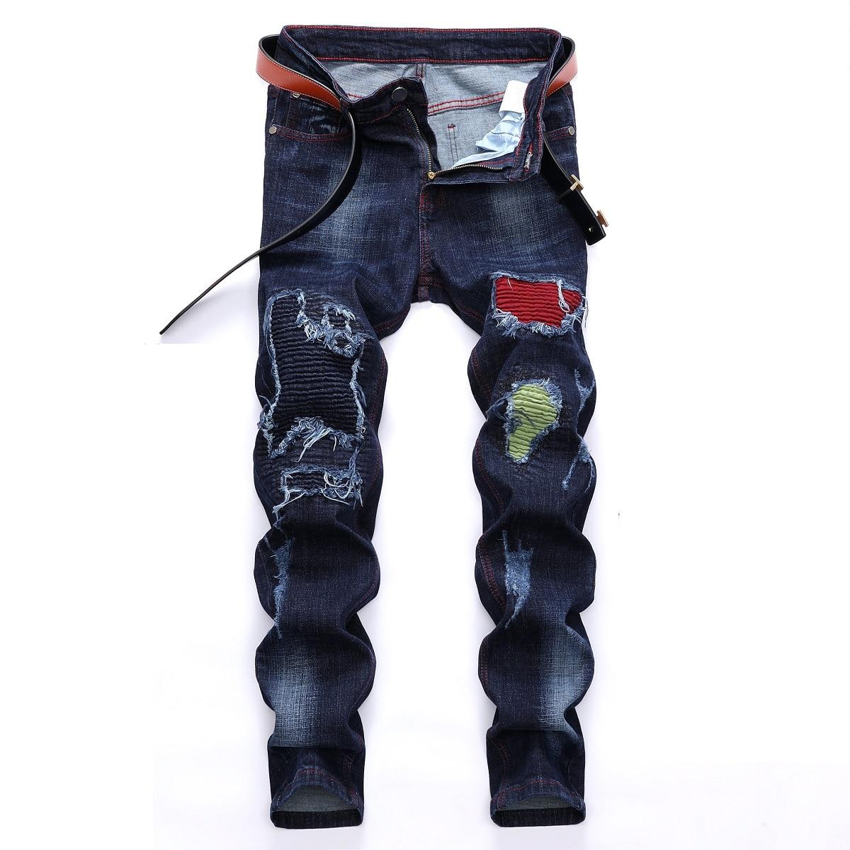 2021 Модные осенние и зимние мужские рваные джинсы, модные эластичные джинсы с нашивкой, мужские джинсовые брюки, модные мужские джинсы